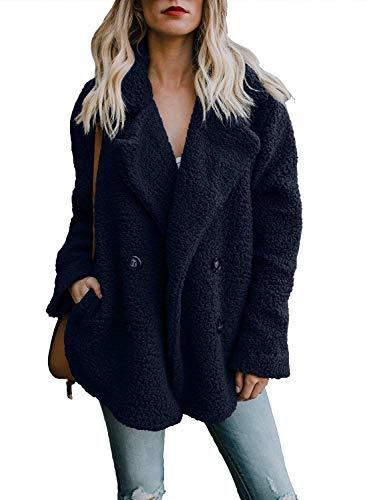 OranDesigne Damen Mantel Plüsch Jacke Revers Faux Wolle Warm Winter Outwear Stylische Zweireiher Übergroße Coat mit Taschen Blau DE 40