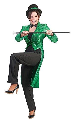 Pailletten Frack für Damen Grün Gr. 44 46 zum Show Kostüm für Karneval Faschingoder Mottoparty