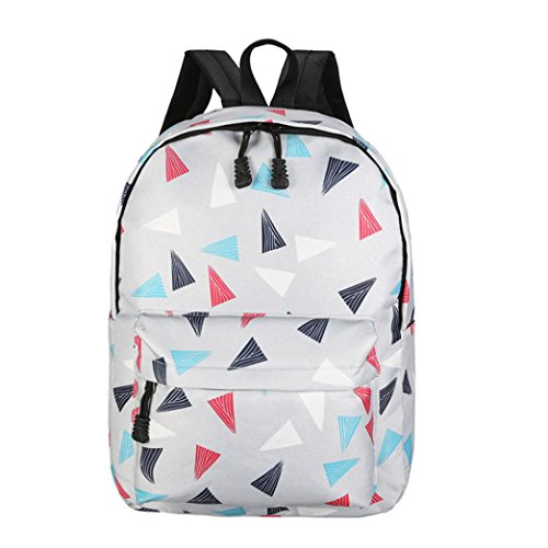 Rucksack Rcool Erholung Reise Leinwand Dreieck Geometrie Satchel Schule Tasche (Grau)