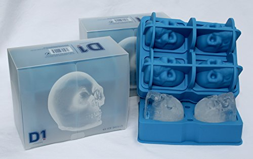 D1 London Spirituosen 4 x D1 Skull Ice Formen Ice Cube Makers (Spirituosen Halloween)