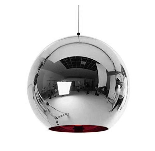 JIE Moderne Goldenen Ball Anhänger Lichter Kupfer Glas Spiegel Ball Hängen Lampe Küche Moderne Leuchten Hängen Licht,Silver,Diameter20cm