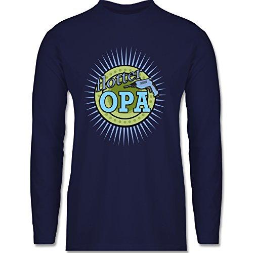 Opa - Flotter Opa - Longsleeve / langärmeliges T-Shirt für Herren Navy Blau