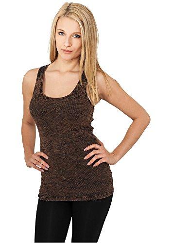 Crinkle Tank Top Shirt (Urban Classics Damen Sport Tank Top Ladies Crinkle Camo Tanktop, Braun (Brown 00075), Small)