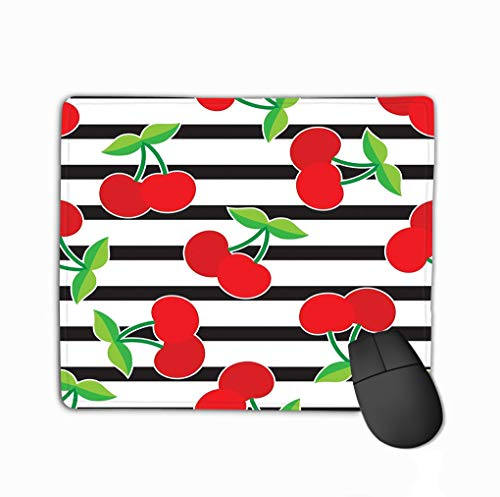 Mouse Pad Cherry Pattern Black Lines Background horizontal Stripes red Berries Pattern Cherries Perfect Rectangle Rubber Mousepad 11.81 X 9.84 Inch