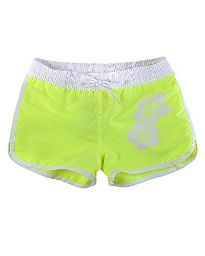 Cool / Lässig und Kurz Mädchen / Damen Sommer Badeshorts in aktuellen Trendfarben mit Hibiskus Design f6046 Farbe: 1252KI Neon Gelb, Gr. 176 (Gelb Shorts Mädchen)