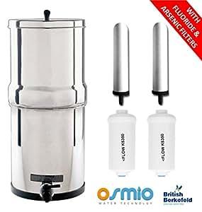 British Berkefeld d'eau avec 2 filtres Super Sterasyl ATC bougies fluorure & arsenic et 2 filtres vous pouvez éliminer les fluorures et de la gravité de l'arsenic avec le système des deux addtion Fluorure Filtre qui s'asseoir dans la chambre basse du système Par gravité
