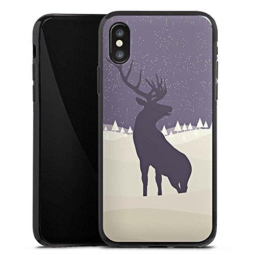 Apple iPhone X Silikon Hülle Case Schutzhülle Hirsch Schnee Winter Silikon Case schwarz