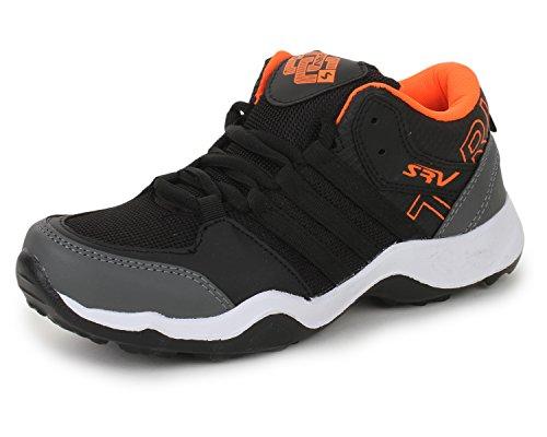 Trase SRV Men's Parker Black/Orange Sports Running Shoe-9 IND/UK