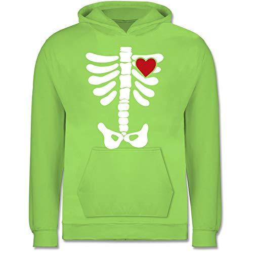 Shirtracer Anlässe Kinder - Skelett Herz Halloween Kostüm - 9-11 Jahre (140) - Limonengrün - JH001K - Kinder Hoodie
