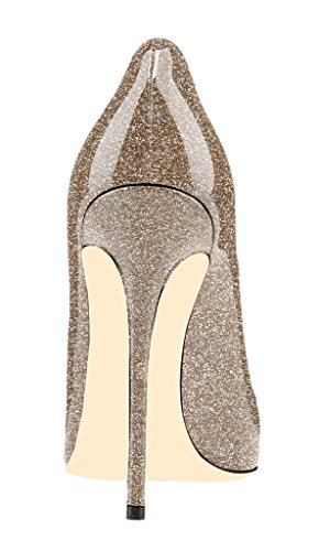 EDEFS - Scarpe col tacco donna - Tacco a Spillo Alto - Scarpe Chiuse Donna - Paillettes Gold