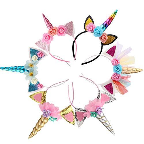 (Kalolary Einhorn Haarreif Elastisch Horn Stirnband 6 Stück Glitter Gold Katzenohren Blumen Einhorn Stirnband Kinder Mädchen Headwear Zubehör für Party Dekoration Cosplay Kostüm Geburtstag)