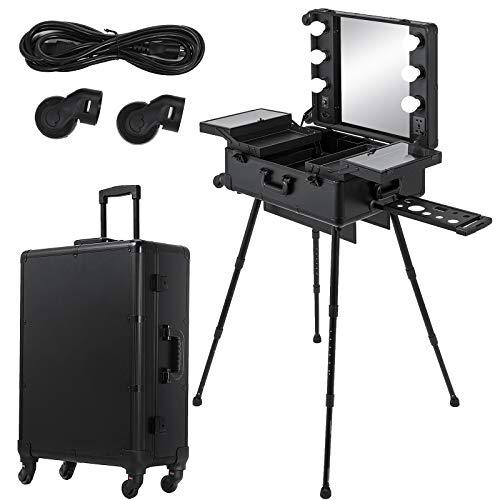 FlowerW 2 in 1 Professioneller Tragbarer Make-up Etui Artist Train Cosmetic Case mit LED-Lichtern und Spiegel Großer Kapazität (2 in 1)