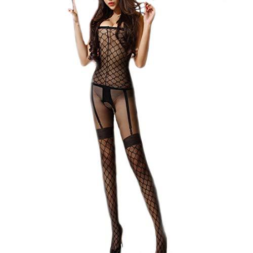 Nylon-körper (LOVETEA Frauen Sexy drucken entspannen-Strümpfe Sling Offene Gabelung Body Dessous (Black 08))