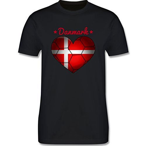 Handball - Handballherz Dänemark - Herren Premium T-Shirt Schwarz