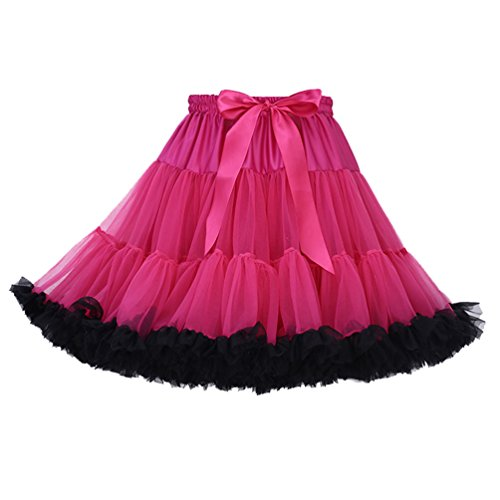 Tütü Damen Tüllrock Mädchen Tutu Rock Petticoat Unterrock Ballett Kostüm Tüll Röcke überlagerte Rüsche Festliche Tütüs Erwachsene Pettiskirt Ballerina Für Dirndl Mini Rock Layered Rosa Schwarz
