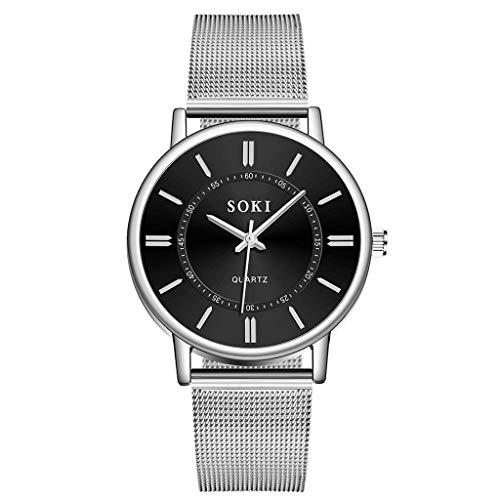 Yallylunn Men Fashion Unobtrusive Business Simple Dial Personality Net Belt Watch Kompaktes Fitnessarmband Klassischem Uhrendesign