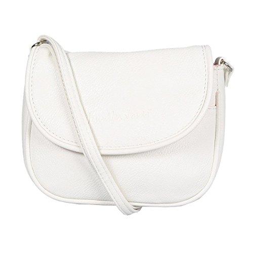 Kleine Damen Handtasche Umhängetasche 18 x 14 cm Weiss