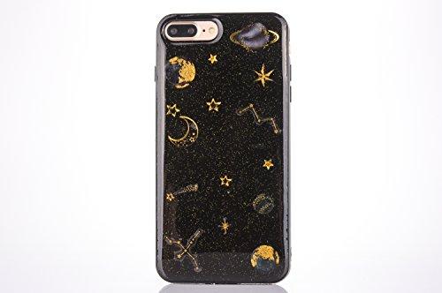 CrazyLemon Coque étui pour iPhone 7 Plus, Couverture pour iPhone 8 Plus, 3D Motif en Relief Conception Vernis Souple TPU Silicone Gel Coque pour iPhone 7 Plus / 8 Plus - Planète Noir
