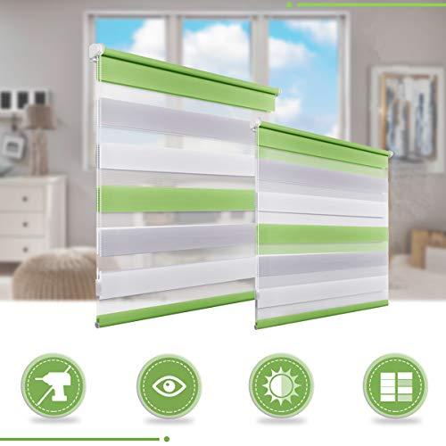 Homedemo tenda a rullo doppia senza viti klemmfix giorno notte easy fix per finestra o porta 40 x 150cm bianco-grigio-verde