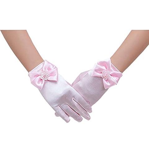 Deceny CB Flower Girls Gloves for Wedding Satin Gloves for
