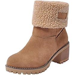 QUICKLYLy Botas de Nieve Mujer,Botines para Adulto,Zapatos Otoño/Invierno 2019 Zapatillas/Calzado Piel Cuero Botín Corto Tacon Ancho(marrón,37CN)
