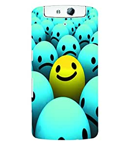 Fuson 3D Printed Smiley Designer Back Case Cover for Oppo N1 - D948