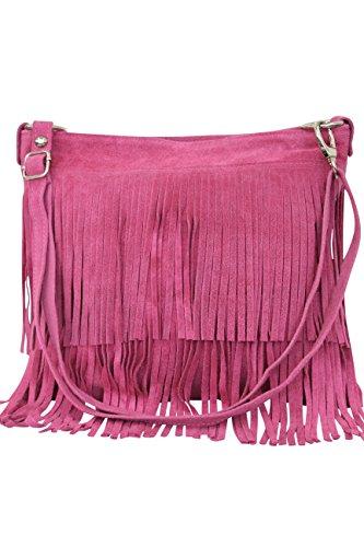 AMBRA Moda Damen Handtasche Ledertasche Umhängetasche Fransentasche Schultertasche Damentasche Wildleder 32 cm x 29 cm x 2 cm WL809 (Pink) - Rosa Wildleder Fransen