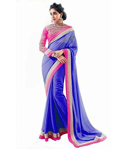 Winza Chiffon Saree (Necklanceblouseblue _Blue)