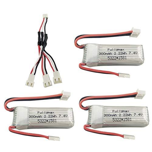 Fytoo 3PCS 7.4V 300mah Lipo Batterie mit 3 in 1 Umwandlung Kabel für WLToys F959 XK DHC-2 A600 A700 A800 A430 RC Segelflugzeug Ersatzteile -