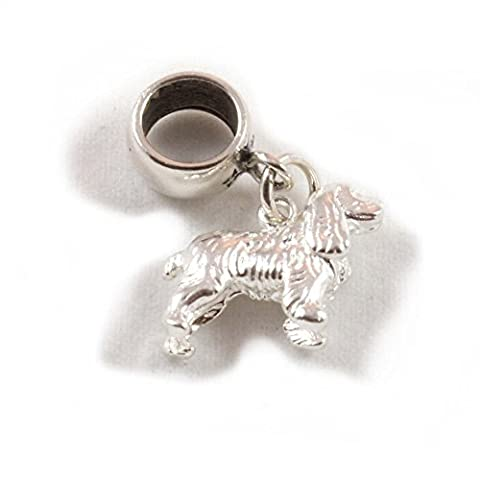 Sterling Silver Large Cocker Spaniel Dog Dangle Bead /Charm To Fit European Style Charm Bracelets