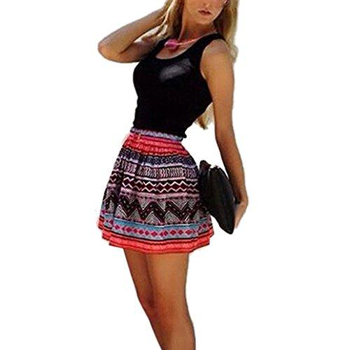 Vestido, Oyedens Vestido corto sin mangas de la impresión del cortocircuito del coctel del partido de la tarde de las mujeres ocasionales (S)