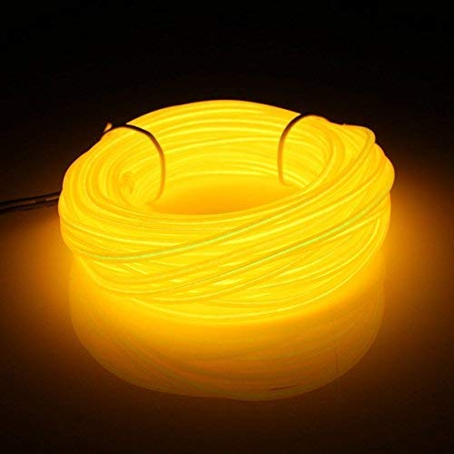 luces navidad suave neon EL cable de baile partido decoracion 5M + Controlador, exterior, guirnalda luminosa para navidad, fiesta, decoración de coche, cocina(amarillo)