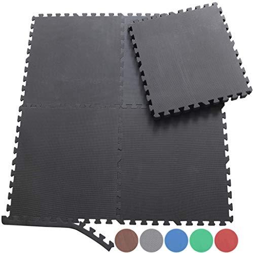 Sporttrend 24 - Schutzmatten Set 4-72teilig schwarz und braun 60x60x1cm | Bodenschutzmatte Unterlegmatte für Fitnessgeräte Sportgeräte (4 Schutzmatten + 8 Endstücke, Holzoptik (hell))