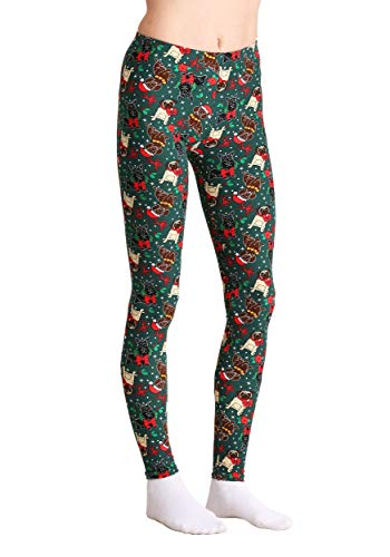 be42b988fbad36 Just One Wholesale Ugly Christmas Dogs Print Green Leggings Small