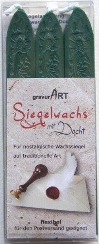 gravurART - flexibles Siegelwachs mit Docht in Dunkelgrün, 3 Stangen