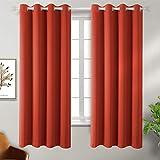 BGment Vorhang blickdichte Orange Vorhänge mit Ösen 137 cm x 117 cm (H x B), 2 Stücke Verdunkelungsvorhänge Isolierung, Dekorative und Undurchsichtig, Schutz der Privatsphäre für Zimmer