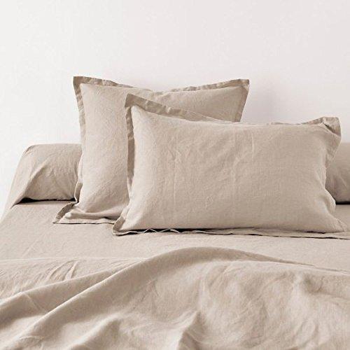 Home Inspiration Taie d'oreiller avec Volant Lin Coton Beige 70 x 50 cm