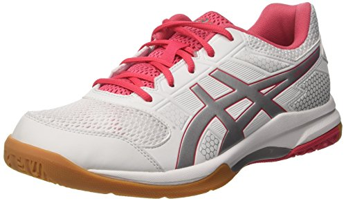 Asics Damen Gel-Rocket 8 Volleyballschuhe, Elfenbein (White / Rouge Red / Silver), 39.5 EU