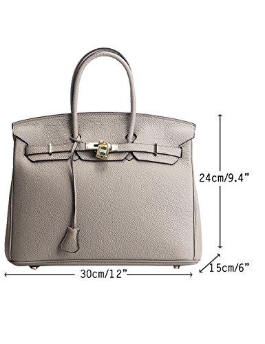 456159bcfacee Menschwear Damen Echtes Leder Handtasche Elegant Taschen 35cm Grau Grau M  ...