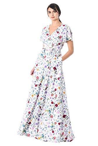 41e6fe3473 eShakti Women s Floral print crepe wrap dress UK Size 20W   Regular height  White multi