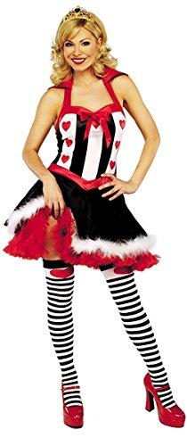 MIXLOT Frauen Sexy erwachsene Herz Königin Halloween Kostüm Scary Creepy Fancy Kleid Größe S-XL (Large, Fräulein Herz Königin (Der Herzen Kostüme Königin Erwachsene Sexy Für)