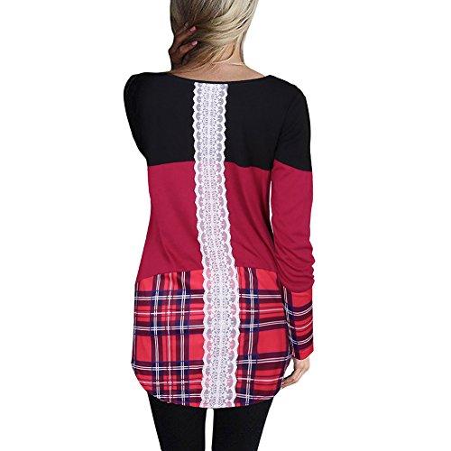 Femmes Basic Plaid Blouse - hibote Dames Vintage Col Rond Pull Casual Chemise à Manches Longues Mince Tops Jumper Élégant T-shirts Tunique Plaid / Broderie / Solide Couleur Plaid - Rouge