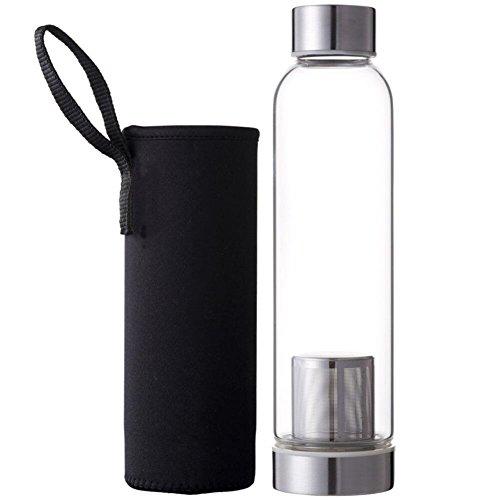 Drawihi 550ml Glas Tee-Flasche mit Filter Wasserflasche Glasflasche Trinkflasche Teebereiter Isolierung Trinkbecher mit Nylon Tasche (Schwarz) 24 * 4 * 6.2 cm - Nylon-isolierung