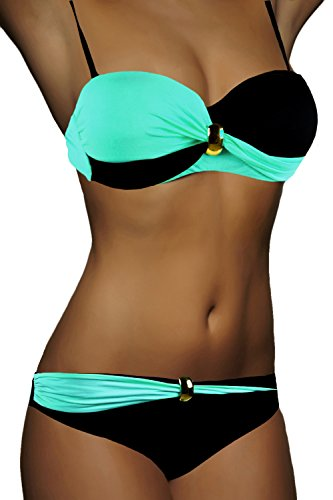 ALZORA Bandeau Twist Push Up Bikini Set Damen Pushup Top und Hose Badeanzug, F821 (M, Modell-5)