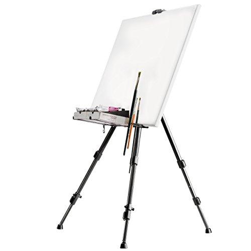 Walimex 18429 - Caballete de aluminio para pintar (con soporte para pinceles), capacidad max de carga: aprox. 6 kg, color negro, 122 cm de alto, 4 cm de profundidad