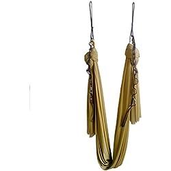 Hamaca elástica para pilates y yoga aéreo, de Wellsem®. Con mosquetón y cadena margarita. 5 m, dorado
