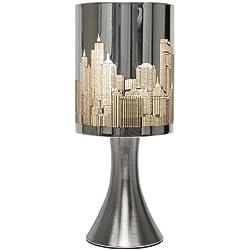 MiniSun – Moderna lámpara de mesa táctil de diseño cromada, inspirada en el paisaje de Nueva York
