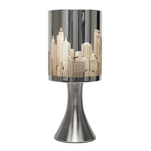 MiniSun – Moderne und Touch-Me Tischlampe mit einem glänzigen verchromten Finish und einem Lampenschirm mit Horizontmotiv von New York – Tischleuchte