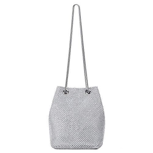 SODIAL Sac de soiree en polyester + strass + metal sac de seau sac a main pour les femmes(argente)