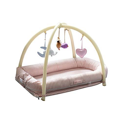 Bassin Lounger pour le lit, berceau portatif pour la chambre à coucher/voyage, berceau portatif nouveau-né, moustiquaire et support de jouet (approprié à 0-36 mois